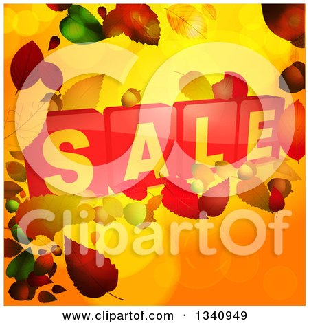 Clipart of 3d Red Sale Tiles over Autumn Leaves and Orange - Royalty Free Vector Illustration by elaineitalia