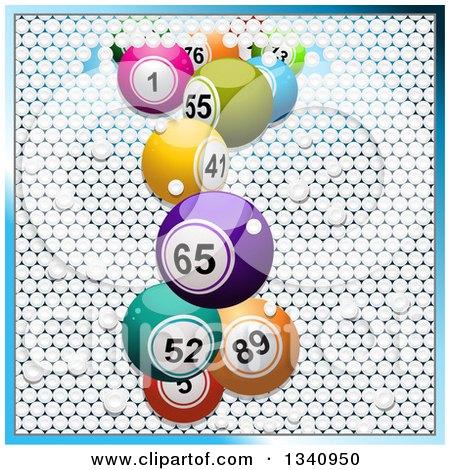 Clipart of 3d Colorful Bingo Balls Breaking Through White Tiles, Bordered in Blue - Royalty Free Vector Illustration by elaineitalia