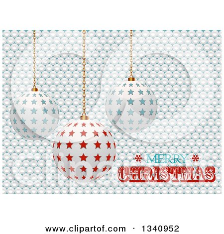 Clipart of 3d Suspended Star Ornaments over White Buttons and Merry Christmas Text - Royalty Free Vector Illustration by elaineitalia