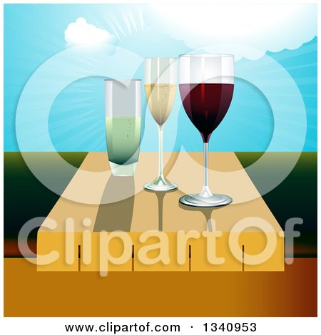 Clipart of 3d Wine Glasses on a Table Against a Valley and Sunny Sky - Royalty Free Vector Illustration by elaineitalia