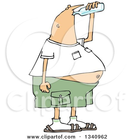 Clipart of a Cartoon Chubby White Man Drinking Water from a Bottle - Royalty Free Vector Illustration by djart
