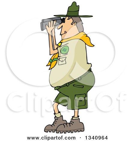 Cartoon Caucasian Scout Man Facing Left and Looking Through Binoculars Posters, Art Prints