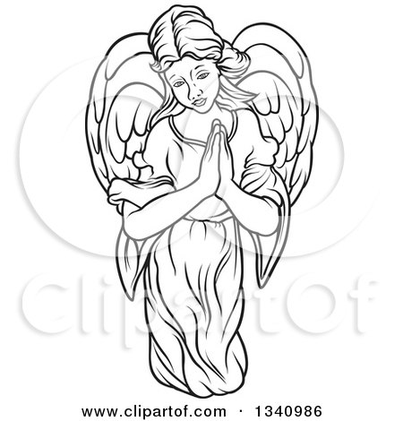 Clipart of a Black and White Female Angel with Prayer Hands - Royalty Free Vector Illustration by dero