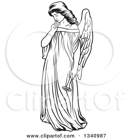 Clipart of a Black and White Angel Kneeling and Praying Royalty Free Vector Illustration by