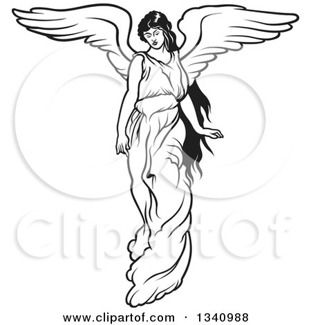 Clipart of a Black and White Female Angel - Royalty Free Vector Illustration by dero