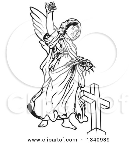 Clipart of a Black and White Female Angel Holding up Flowers over a Cross - Royalty Free Vector Illustration by dero