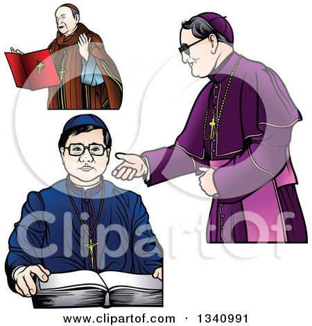 Clipart of Bishops in a Red, Blue and Purple Robes - Royalty Free Vector Illustration by dero