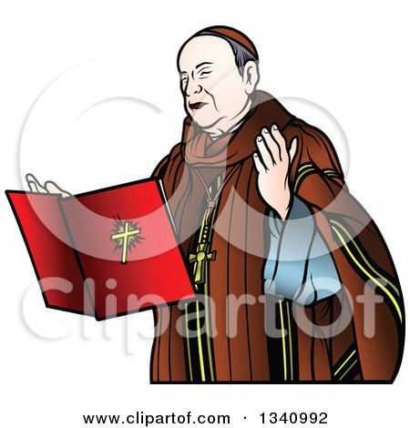 Clipart of a Bishop with a Floating Bible - Royalty Free Vector Illustration by dero