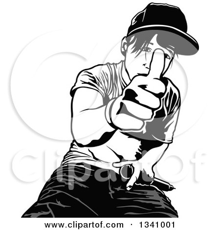 Clipart of a Grayscale Young Man Giving a Thumb up - Royalty Free Vector Illustration by dero