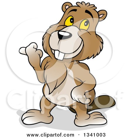 Clipart of a Cartoon Happy Beaver Pointing to the Left - Royalty Free Vector Illustration by dero