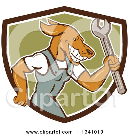 Clipart of a Cartoon Dog Mechanic in Coveralls, Holding a Wrench and Emerging from a Brown White and Green Shield - Royalty Free Vector Illustration by patrimonio