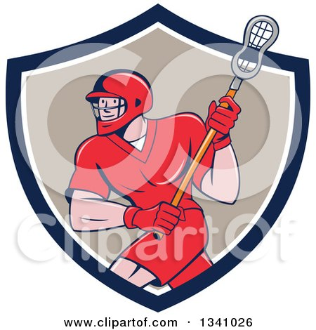 Clipart of a Cartoon White Male Lacrosse Player with a Stick in a Blue White and Tan Shield - Royalty Free Vector Illustration by patrimonio