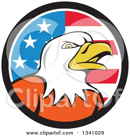 Clipart of a Cartoon Bald Eagle Head in an American Flag Circle - Royalty Free Vector Illustration by patrimonio