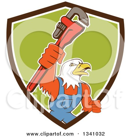 Clipart of a Cartoon Bald Eagle Plumber Man Holding up a Monkey Wrench, Emerging from a Brown White and Green Shield - Royalty Free Vector Illustration by patrimonio