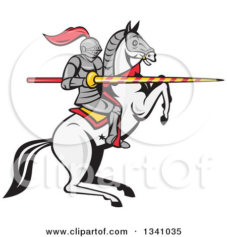 Clipart of a Cartoon Horseback Armored Jousting Knight on a Rearing Horse, Holding a Lance - Royalty Free Vector Illustration by patrimonio