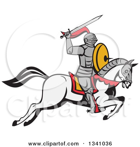 Clipart of a Cartoon Horseback Armoured Knight Holding up a Sword - Royalty Free Vector Illustration by patrimonio
