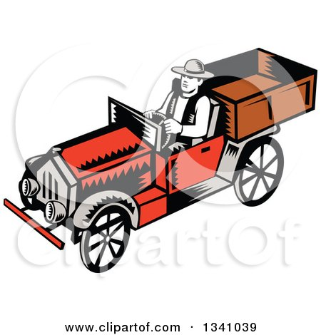 Clipart of a Retro Woodcut Man Driving a Vintage Pickup Truck - Royalty Free Vector Illustration by patrimonio