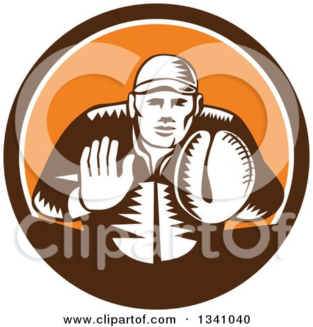 Clipart of a Retro Woodcut Baseball Player Catcher in a Brown White and Orange Circle - Royalty Free Vector Illustration by patrimonio