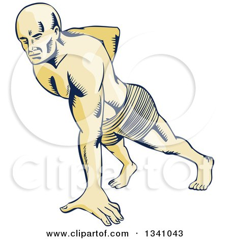 Clipart of a Retro Sketched or Engraved Man Doing One Handed Push Ups - Royalty Free Vector Illustration by patrimonio