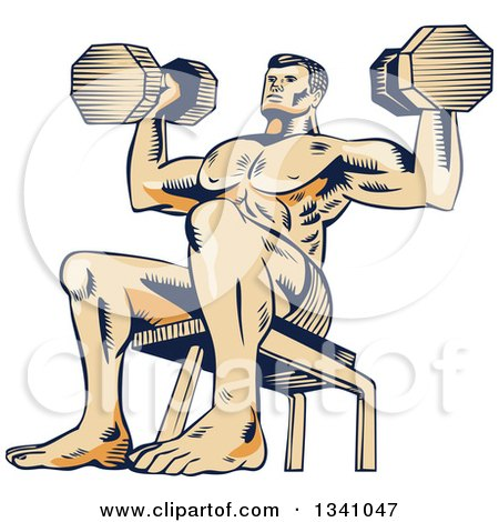 Clipart of a Retro Sketched or Engraved Bodybuilder Sitting on a Bench and Doing Shoulder Presses with Dumbbells - Royalty Free Vector Illustration by patrimonio