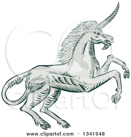 Clipart of a Retro Sketched or Engraved Rearing Unicorn - Royalty Free Vector Illustration by patrimonio
