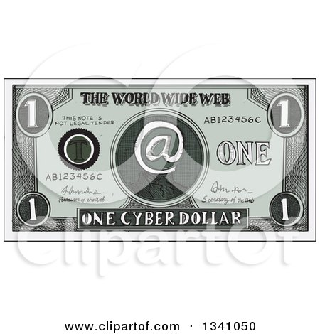 Clipart of a Retro Sketched or Engraved Cyber Dollar Bill - Royalty Free Vector Illustration by patrimonio