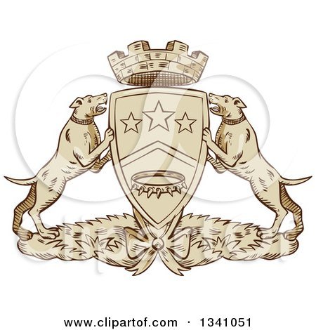 Clipart of a Retro Sketched or Engraved Pit Bull Coat of Arms - Royalty Free Vector Illustration by patrimonio