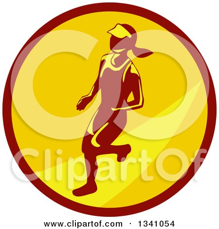 Clipart of a Retro Female Marathon Runner in a Brown and Yellow Circle - Royalty Free Vector Illustration by patrimonio