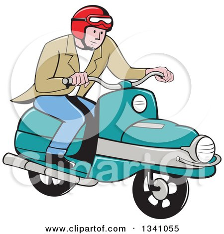 Clipart of a Cartoon White Man Riding a Scooter - Royalty Free Vector Illustration by patrimonio