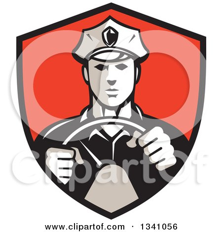 Clipart of a Retro Male Police Officer Driving with Both Hands on the Steering Wheel in a Red and Black Shield - Royalty Free Vector Illustration by patrimonio