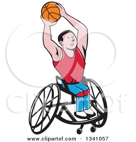 Clipart of a Cartoon White Disabled Man Playing Basketball in a Wheelchair - Royalty Free Vector Illustration by patrimonio