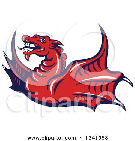 Clipart of a Cartoon Angry Red Dragon Flying - Royalty Free Vector Illustration by patrimonio