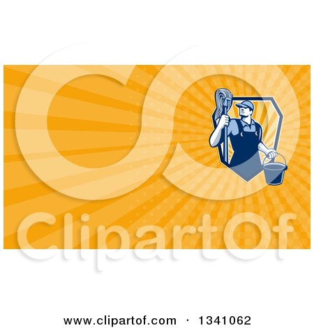 Clipart of a Retro Male Janitor Holding a Mop and Bucket, over an Orange Rays Background or Business Card Design - Royalty Free Illustration by patrimonio
