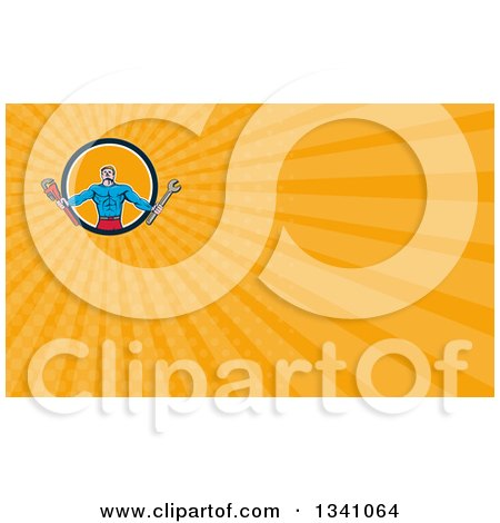 Clipart of a Cartoon Muscular Male Super Handy Man Hero Holding Spanner and Monkey Wrenches in a Circle and Orange Rays Background or Business Card Design - Royalty Free Illustration by patrimonio
