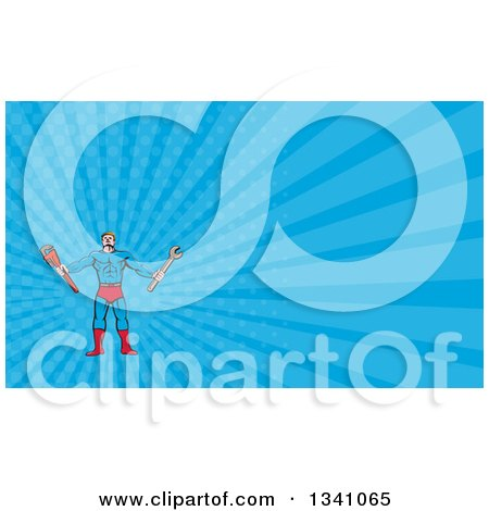 Clipart of a Cartoon Muscular Male Super Handy Man Hero Holding Spanner and Monkey Wrenches and Blue Rays Background or Business Card Design - Royalty Free Illustration by patrimonio