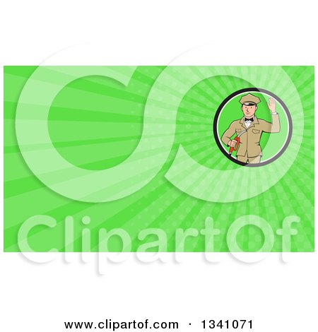 Clipart of a Retro White Male Gas Station Attendant Jockey Holding a Nozzle and Waving and Green Rays Background or Business Card Design - Royalty Free Illustration by patrimonio