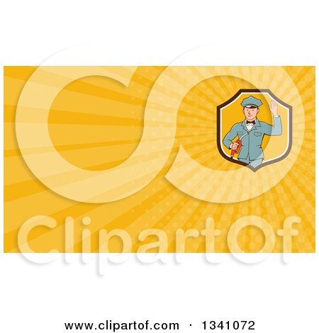 Clipart of a Retro White Male Gas Station Attendant Jockey Holding a Nozzle and Waving and Orange Rays Background or Business Card Design - Royalty Free Illustration by patrimonio