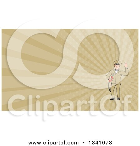 Clipart of a Retro White Male Gas Station Attendant Jockey Holding a Nozzle and Waving and Tan Rays Background or Business Card Design - Royalty Free Illustration by patrimonio