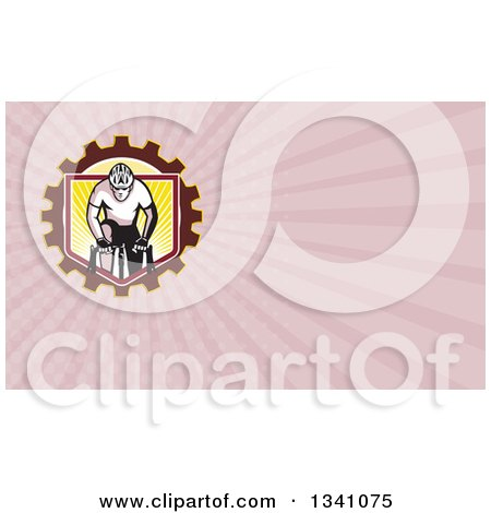Clipart of a Retro Male Cyclist Riding over a Gear Shield and Pastel Pink Rays Background or Business Card Design - Royalty Free Illustration by patrimonio