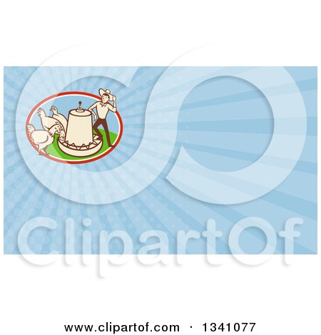 Clipart of a Retro Cartoon Farmer with Chickens at a Feeder and Blue Rays Background or Business Card Design - Royalty Free Illustration by patrimonio