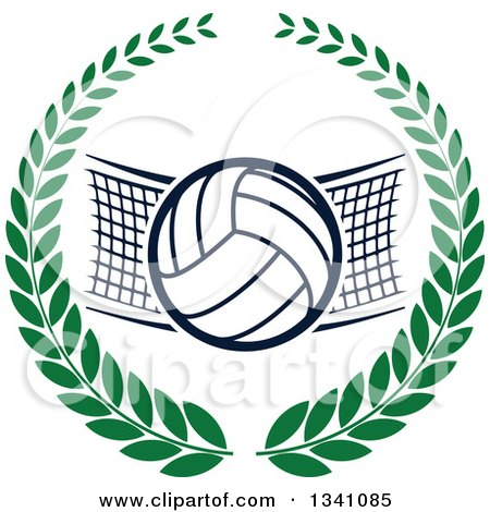 Clipart of a Volleyball and Net in a Green Wreath - Royalty Free Vector Illustration by Vector Tradition SM