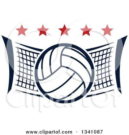 Clipart of a Volleyball and Net with Red Stars - Royalty Free Vector Illustration by Vector Tradition SM