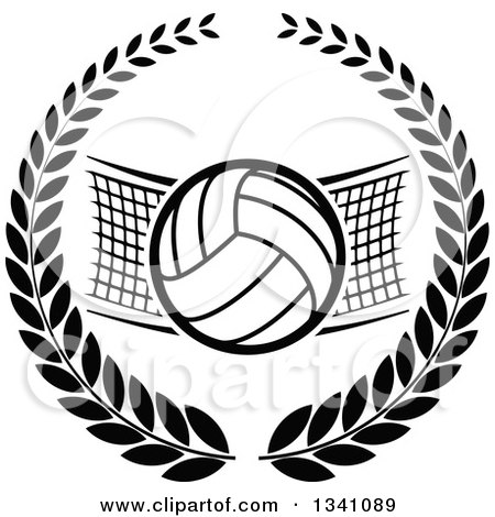 Clipart of a Black and White Volleyball and Net in a Wreath - Royalty Free Vector Illustration by Vector Tradition SM
