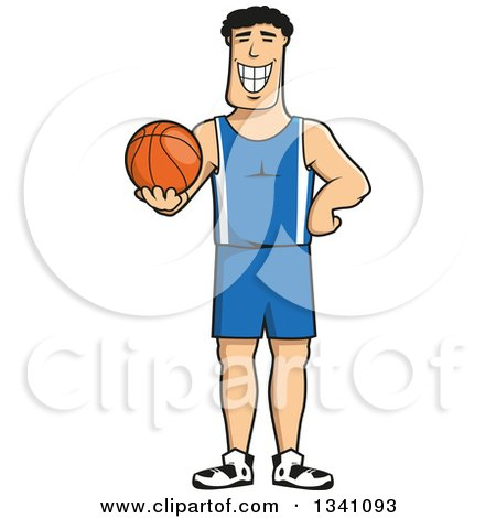 Clipart of a Cartoon Grinning Male Basketball Player - Royalty Free Vector Illustration by Vector Tradition SM