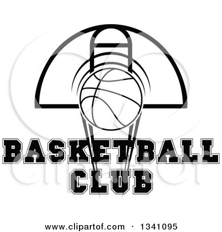 Clipart of a Black and White Basketball and Hoop with Text ...
