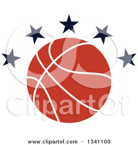 Clipart of a Basketball with Black Stars - Royalty Free Vector Illustration by Vector Tradition SM