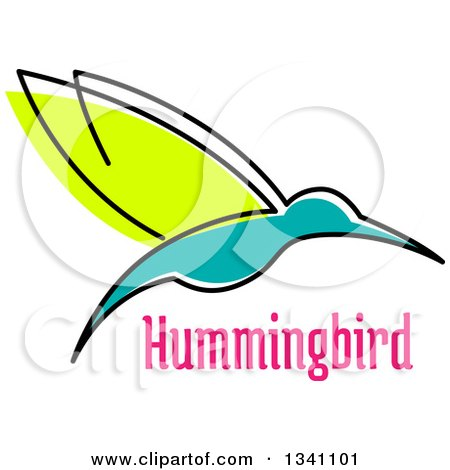 Clipart of a Sketched Green and Turquoise Hummingbird and Pink Text - Royalty Free Vector Illustration by Vector Tradition SM