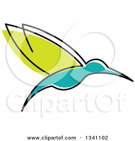 Clipart of a Sketched Green and Turquoise Hummingbird - Royalty Free Vector Illustration by Vector Tradition SM