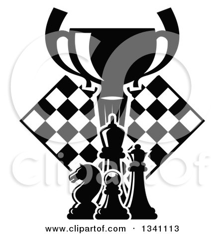 Clipart of a Black and White Chess Trophy Cup, Pieces and a Board - Royalty Free Vector Illustration by Vector Tradition SM