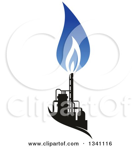 Clipart of a Black and Blue Natural Gas and Flame Design 21 - Royalty Free Vector Illustration by Vector Tradition SM